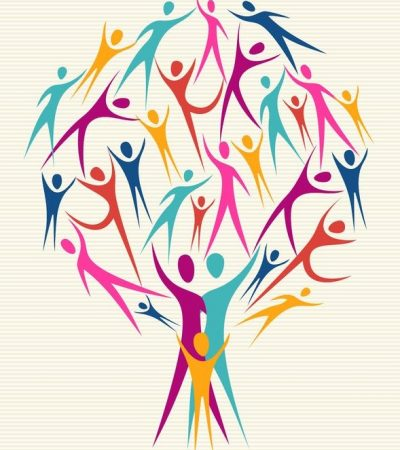 20633065 - family human shapes colorful design tree.  file layered for easy manipulation and custom coloring.